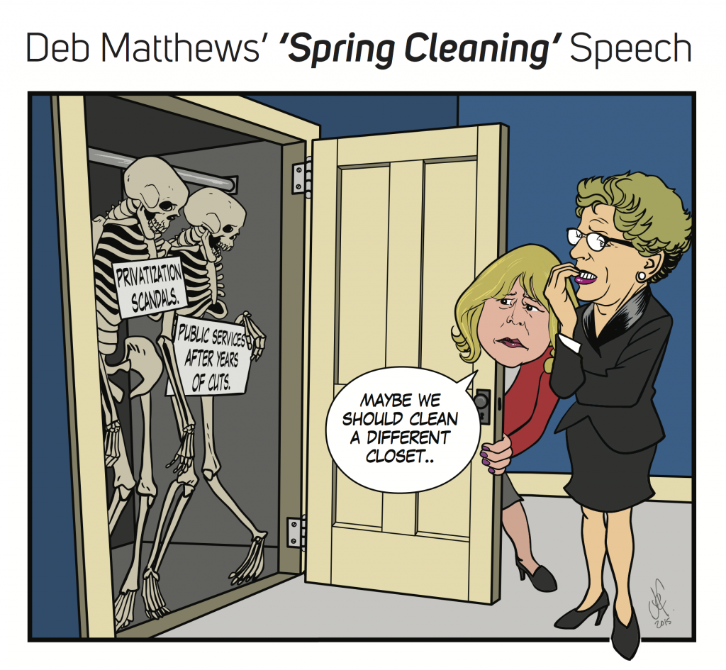 Deb Matthews and Kathleen Wynne open a closet for spring cleaning