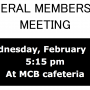 General Membership Meeting on February 15, 2017